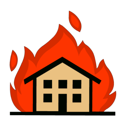 how to draw a burning building